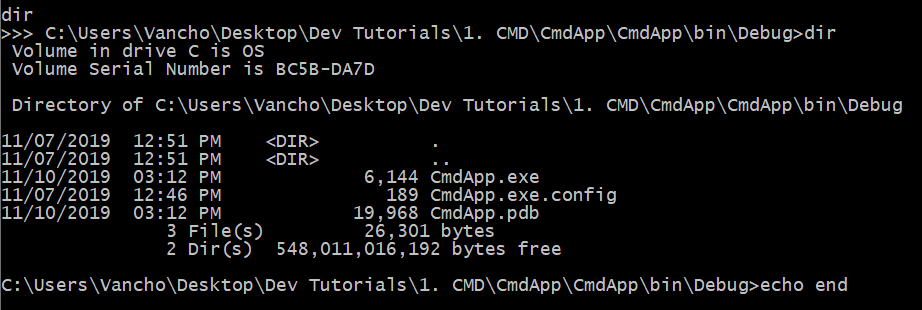 Execute Command Prompt commands from C#
