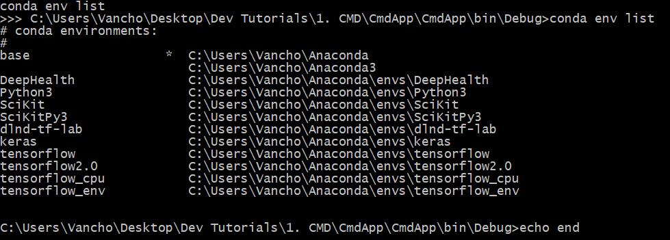 "Execution of ""conda env list"" command"