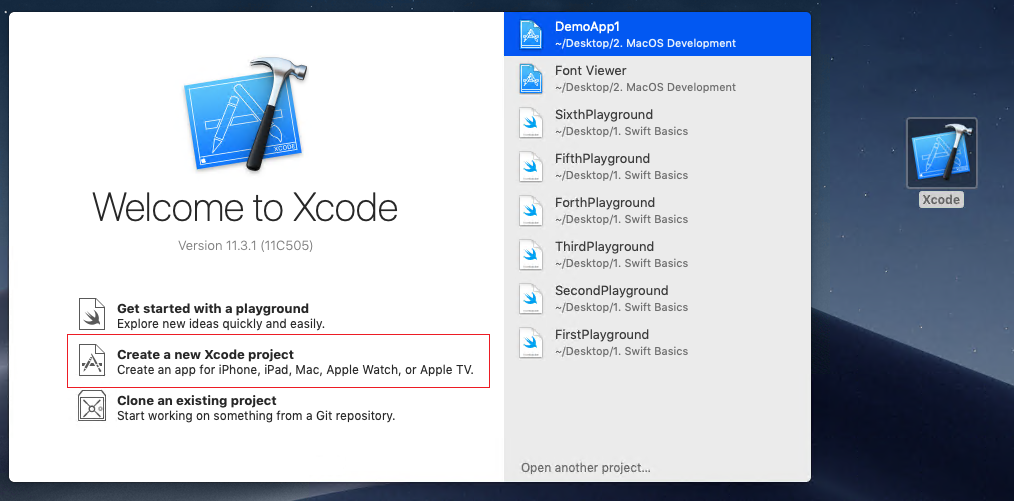Welcome Screen XCode