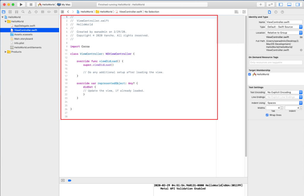 XCode Editor Area