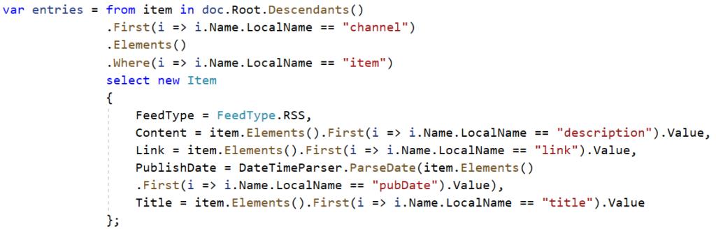 RSS Code Sample