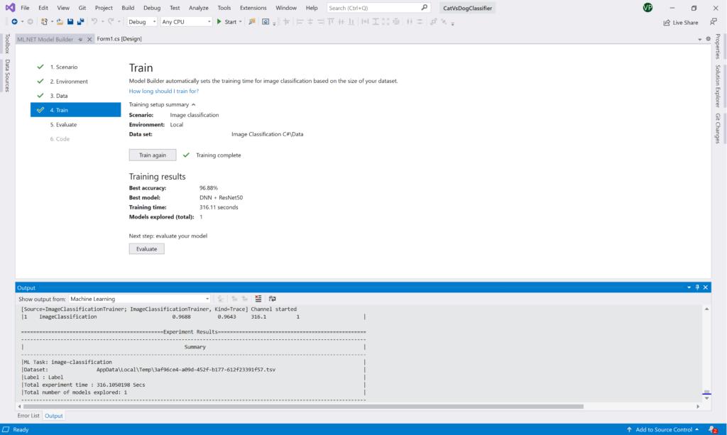 ML.NET Model Builder: Training is done