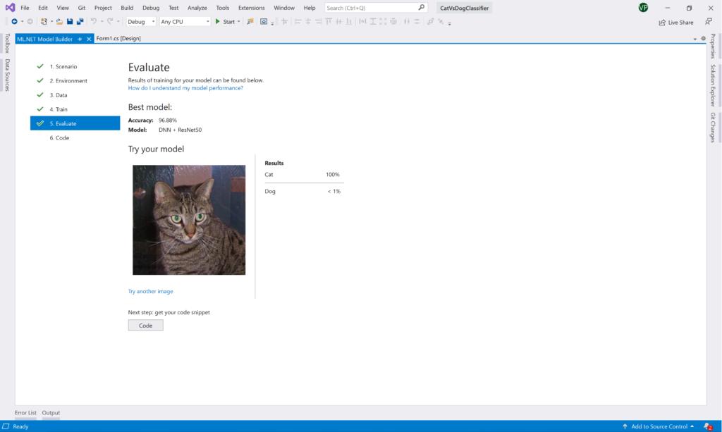 ML.NET Model Builder: Test cat image