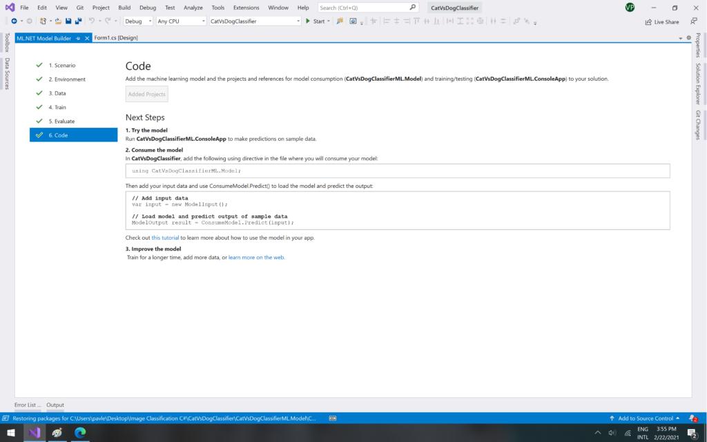 ML.NET Model Builder: Code