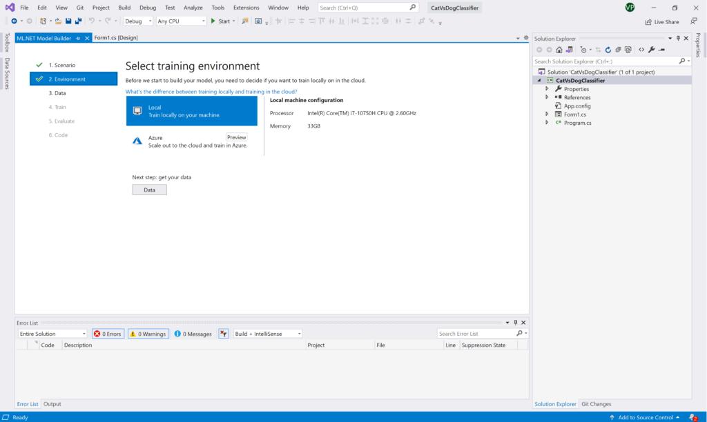 ML.NET Model Builder: Training Environment